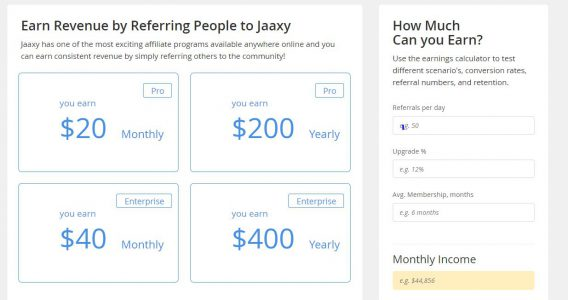 jaaxy referral income chart