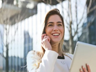 smiling woman feeling great at work