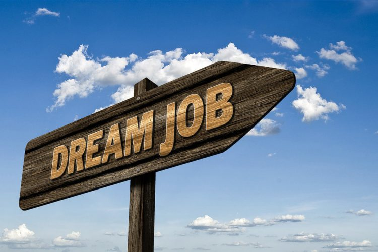 dream job sign on wooden arrow direction board