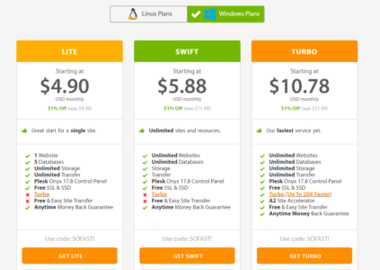 a2 web hosting pricing