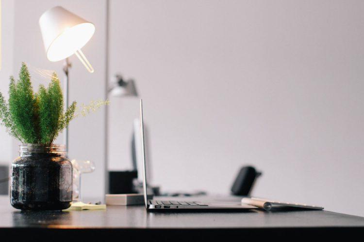 a lamp on an office desk