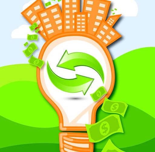 light bulb green dollar bills eco green