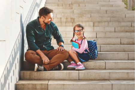 father and daughter encourage self-improvement
