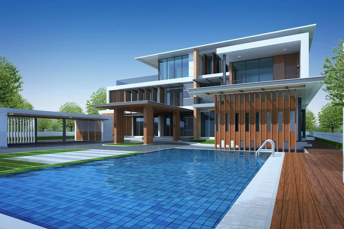 expensive home front swimming pool profitable property