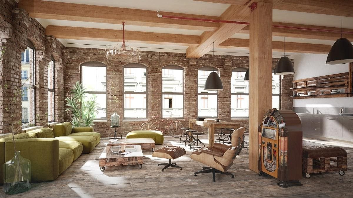 luxurious living room loft with furniture