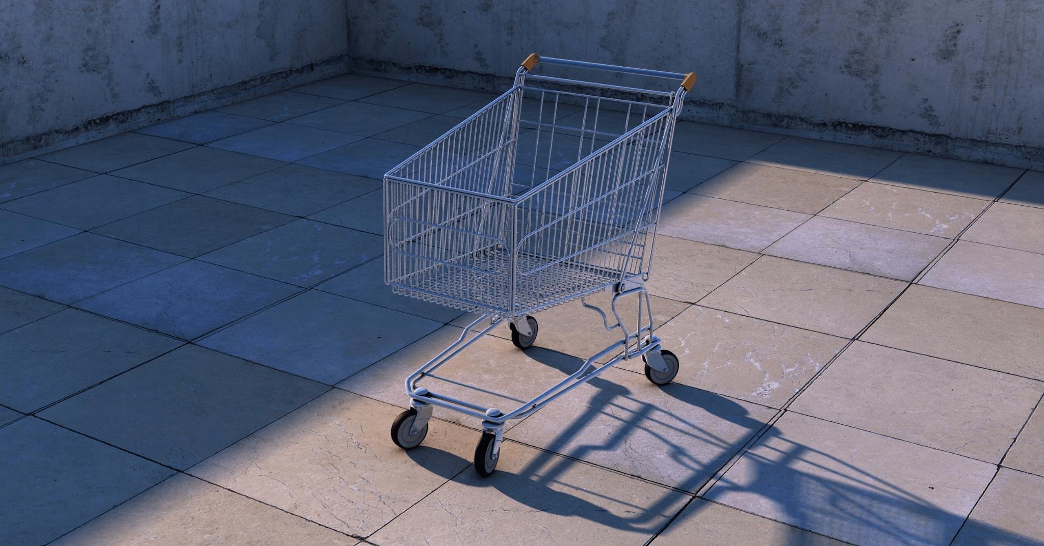 cart-push-cart-shadow- abandoned shopping cart